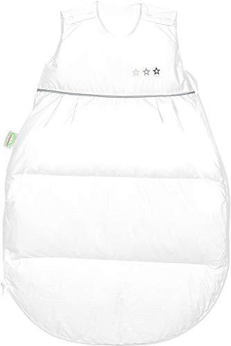 Set Odenwälder Daunen-Schlafsack mit Stoffwindel von Kinderhaus Blaubär/Baby Winterschlafsack mit Premiumdaunen & atmungsaktiv & längenverstellbar, Größe:110, Design:weiß