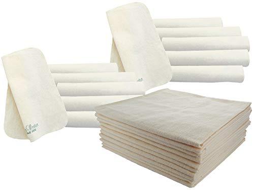 Bio Moltontücher 10er-Set mit Waschlappen 100% Bio-Baumwolle (kbA) GOTS zertifiziert, Natur, 80 x 80 cm