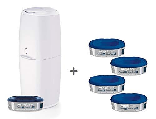 Angelcare Windeleimer Classic XL | komfortabel | Nachfüllkassette mit optimalen Geruchsschutz | 7-schichtige antibakterielle Folie | Fassungsvermögen bis zu 57 Windeln, Größe:5 Nachfüllkassetten