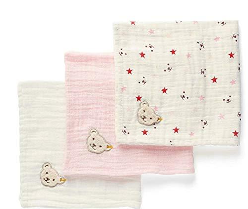 Steiff Baby Mädchen 3tlg. Set Spucktücher in Geschenkbox (Beige GOTS zertifziiert)