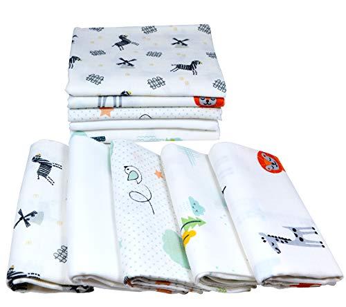 Mullwindeln 10 Stück Mix | Spucktücher Baby | Stoffwindeln 80 x 70 cm | Saugfähige Mulltücher | Öko-Tex (Set Unisex Tiere)
