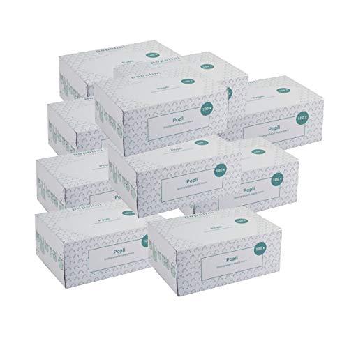 10 x Popli Box Einweg-Windelvlies, 10 x 100 Blatt (1000 Blatt) Windeleinlage für Stoffwindeln