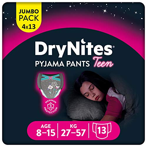 HUGGIES DryNites hochabsorbierende Nachtwindeln bei Bettnässen, für Mädchen 8-15 Jahre, 52 Stück