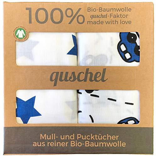 Pucktücher / Puckdecken / Spucktücher / Swaddle Blankets 120x120 cm aus 100% Bio-Baumwolle. Pflegeleicht, kuschelig weich und GOTS zertifiziert.