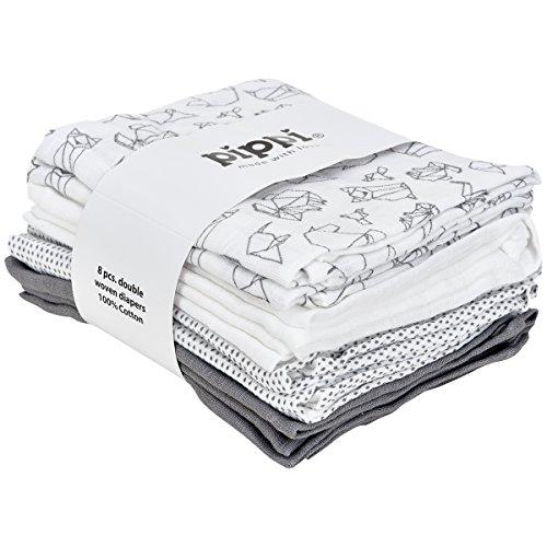 Pippi Mullwindeln Set ❁ Spucktücher 8er Pack Stoffwindeln ❁ Baumwolle (Tiere weiß/grau)