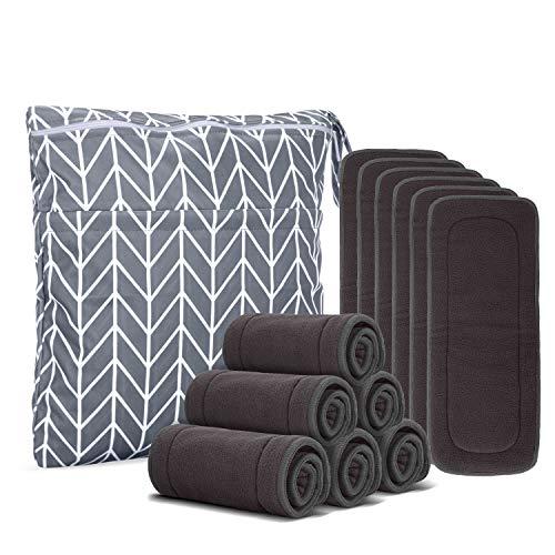 Damero 5 Schichte Stoffwindel Saugeinlagen aus Bambuskohlefaser, 12 er/Stück Baby Windeleinlagen, Waschbare Einlagen für Stoffwindeln mit Nasstasche, Bambuskohlefaser
