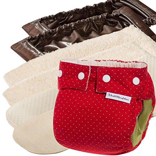 Windelmanufaktur Stoffwindeln: Einsteigerpaket, wiederverwendbare und waschbare Windeln aus Deutschland (4 bis 11 kg, Erdbeere)